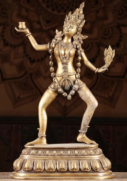 Brass Dancing Kali Holding Bowl & Flower 23