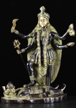 Brass Kali Statue Standing on Corpse of Shiva 14