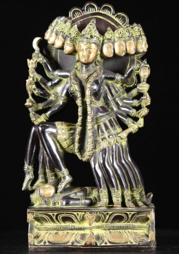 Brass Kali With 10 Heads, Arms & Legs Statue 15