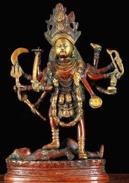 Brass Kali Sculpture with 8 Arms 12