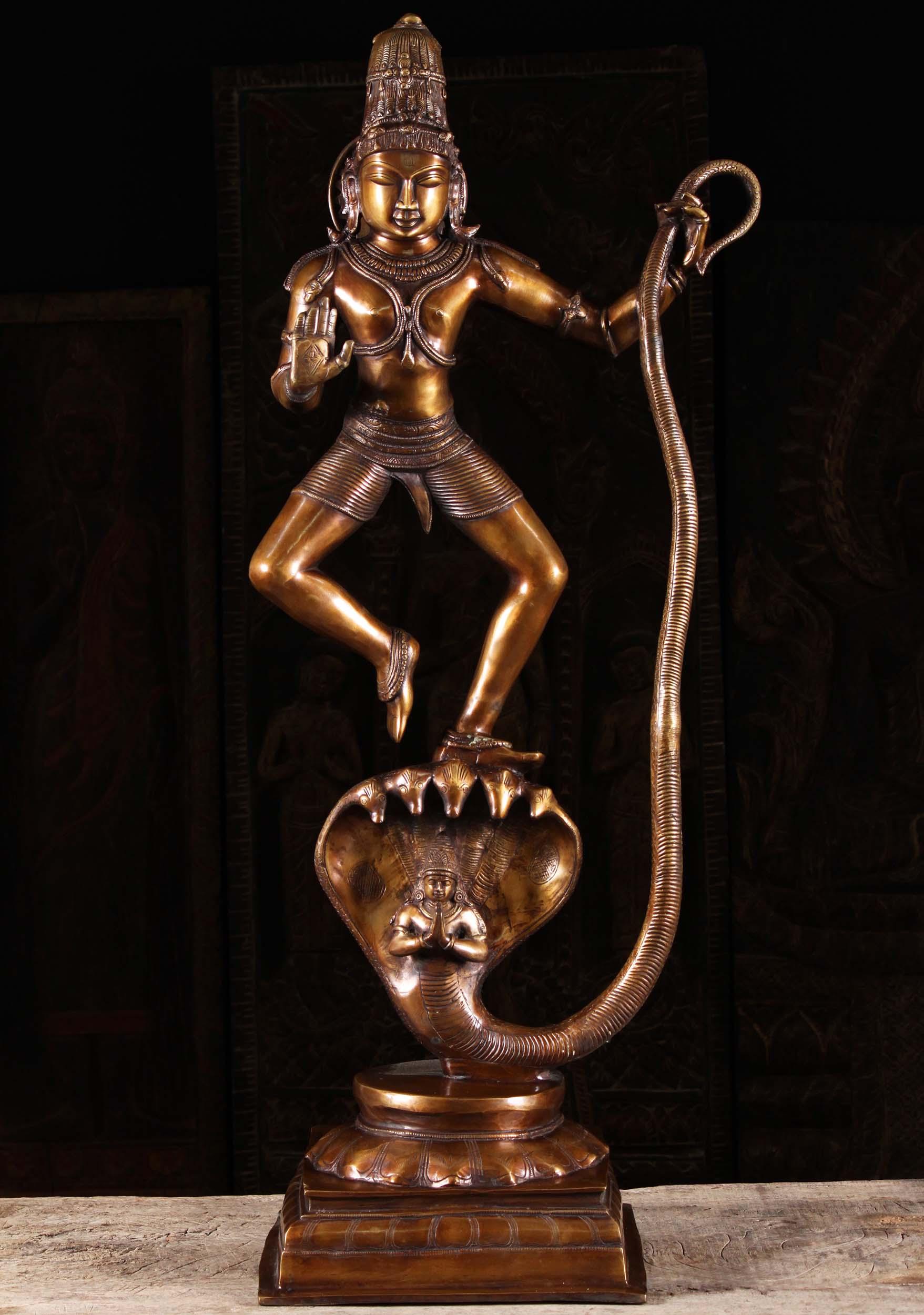 Brass Krishna Dancing on Kaliya Statue