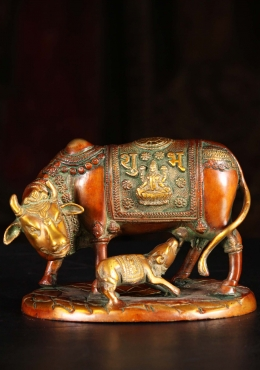 Brass Indian Cow with Nursing Calf Statue 5