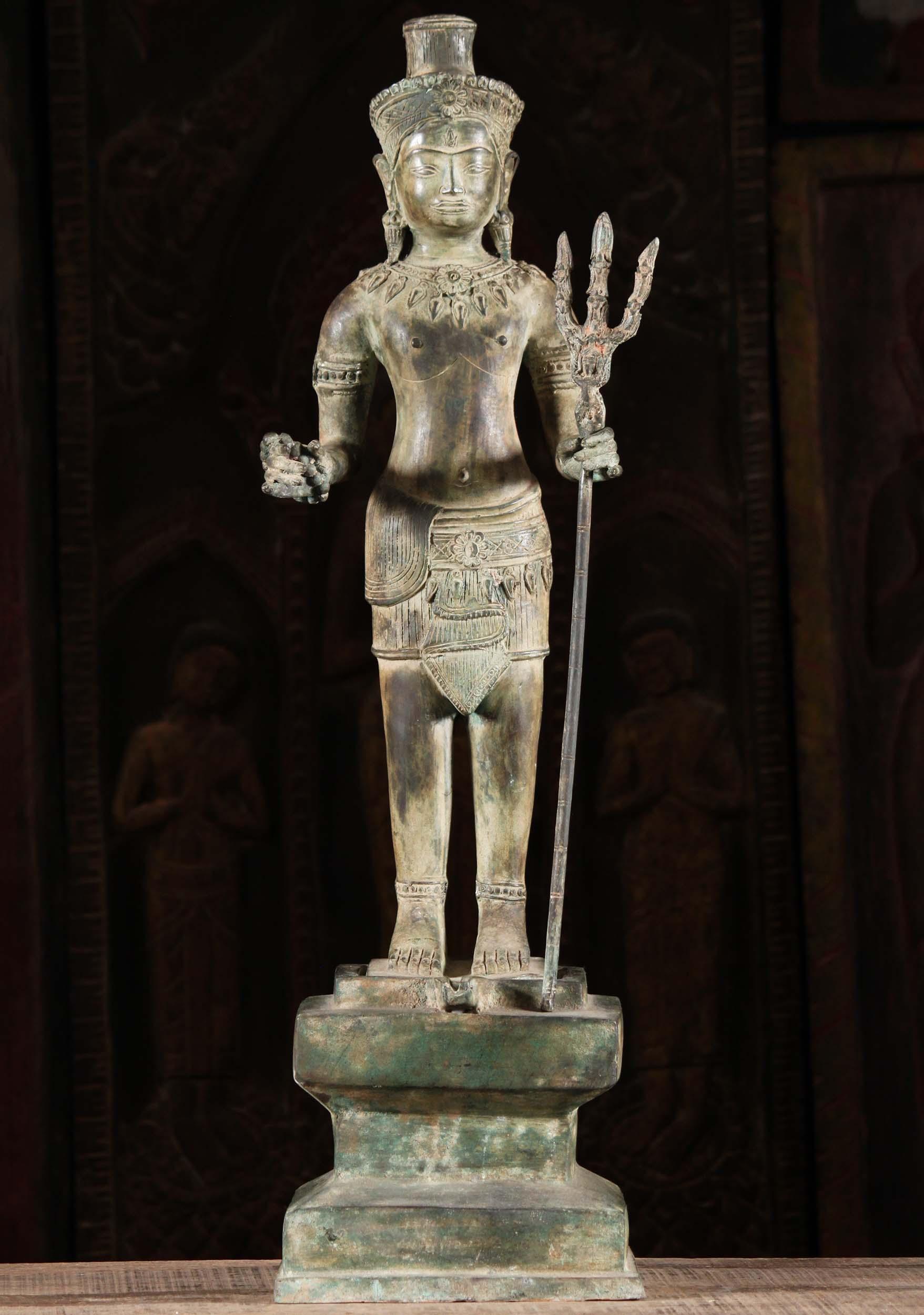 Brass Khmer Shiva Statue Standing On Yoni 30 Quot 104t63