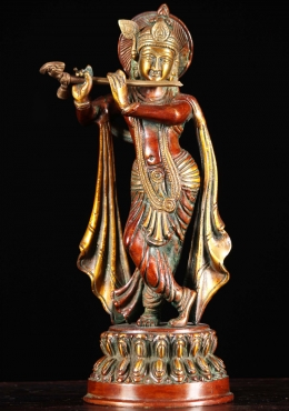 Brass Gopal Krishna Statue Playing the Flute 10