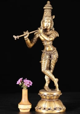 Brass Krishna Statue Playing the Flute 15
