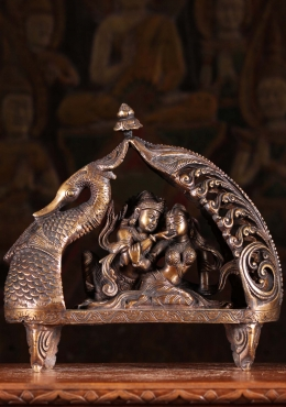 Brass Radha Krishna Statue on Peacock Boat 9.5