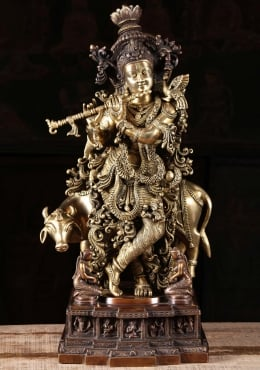 Brass Elaborate Krishna Playing Flute with Cow 28
