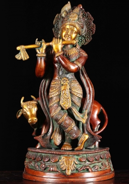 Brass Gopal Krishna With Cow Statue 13