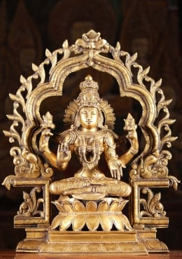Brass Lakshmi Statue Seated With Arch 16