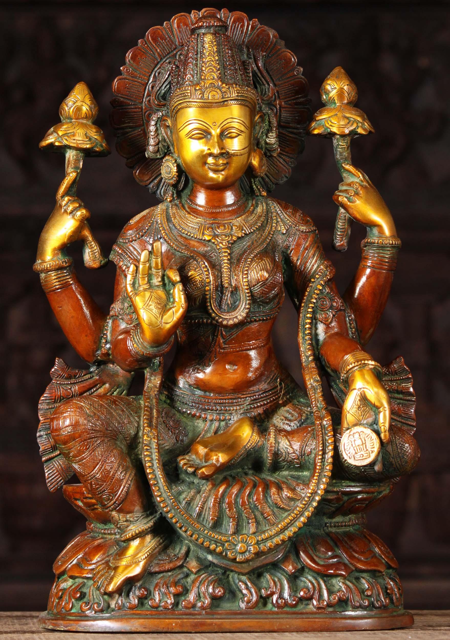 Brass Teaching Lakshmi Holding Coin Statue