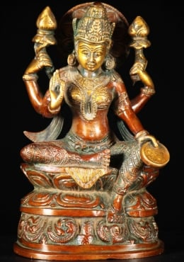 Brass Lakshmi Holding 2 Lotus Flowers & a Coin 8