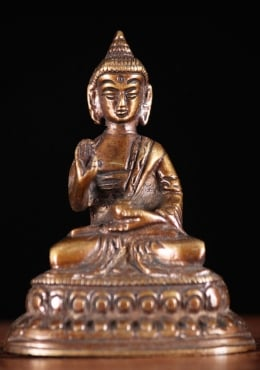 Brass Little Abhaya Buddha With Alms Bowl 3.5