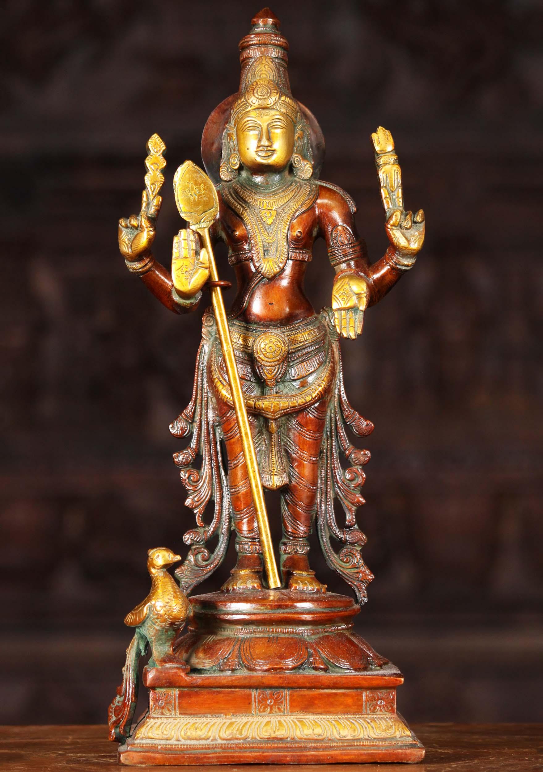 Brass Murugan Sculpture With Vel Amp Peacock 14 Quot 61bs52z