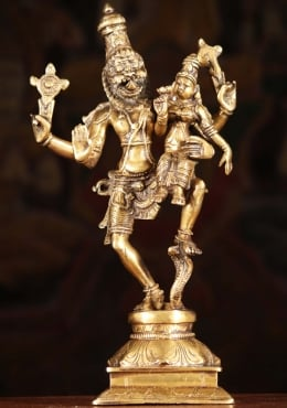 Brass Narasimha Statue Dancing With Lakshmi 12