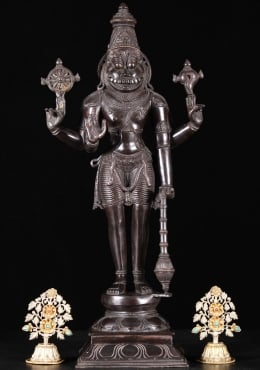 Bronze Narasimha with Conch, Discus & Club 24