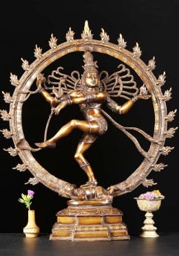 Brass Nataraja Dancing Shiva Sculpture 25.5