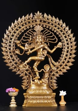 Brass Nataraja Statue with Oval Arch 28