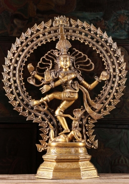 Brass Nataraja with 8 Cobras & Oval Arch 29