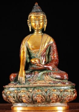 Brass Small Buddha Statue with Alms Bowl 5.5