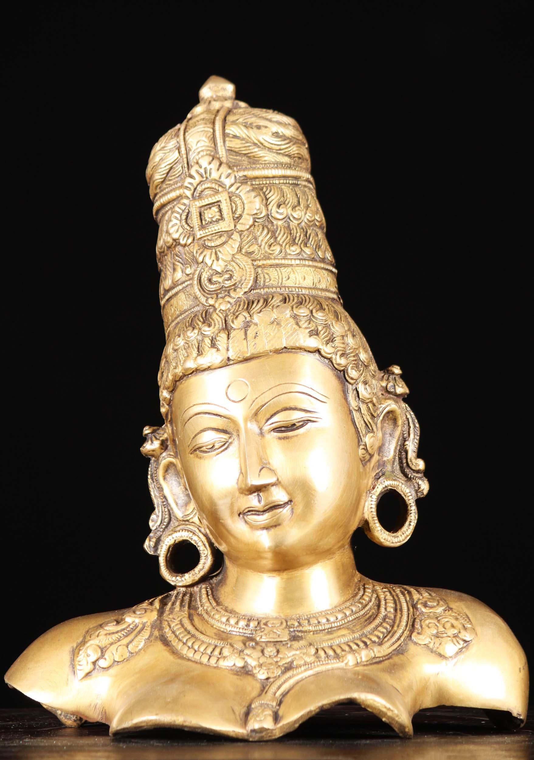 Brass Parvati Bust Sculpture