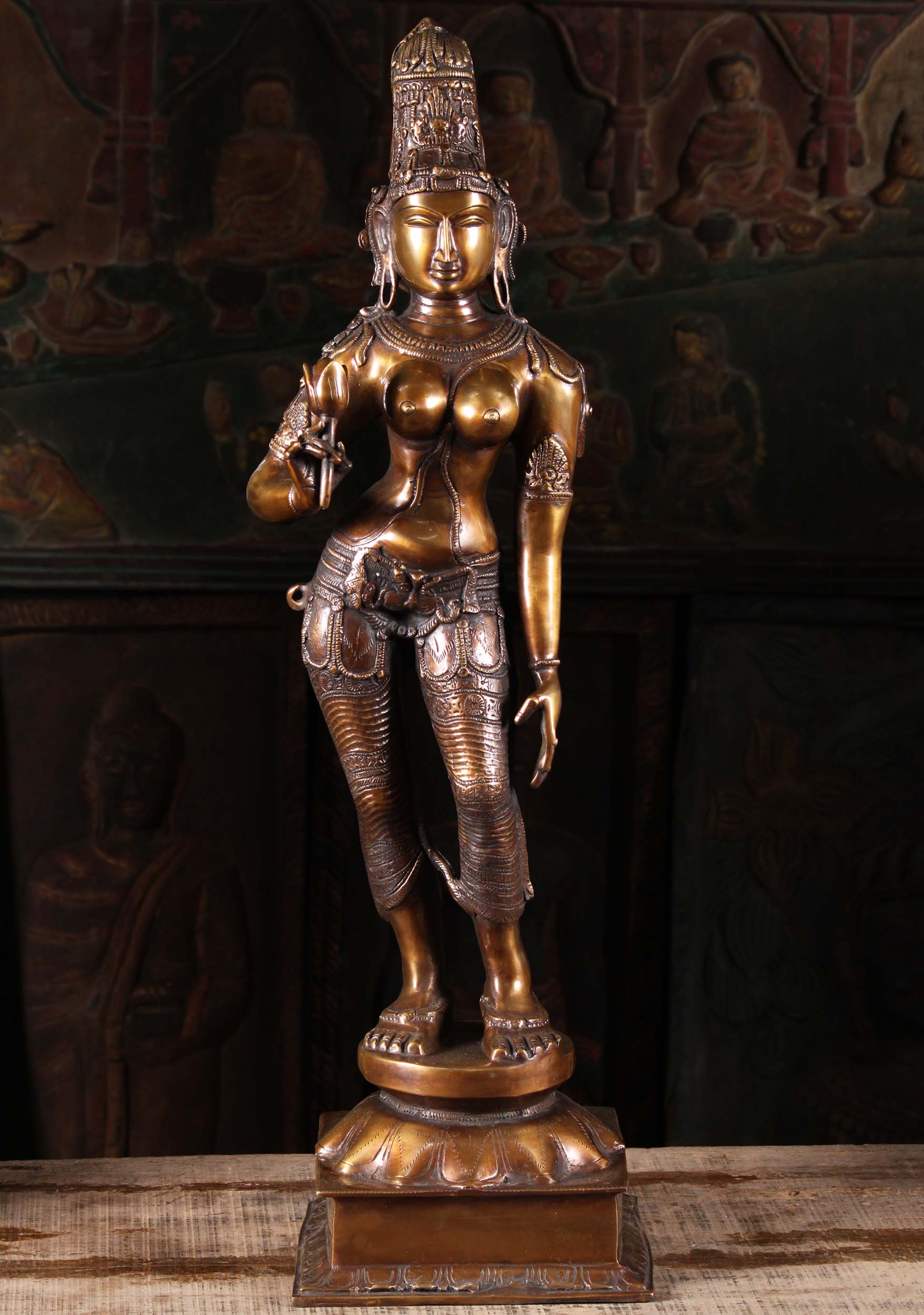 Brass Parvati Statue Holding Lotus Flower 29 Quot 89bs54z