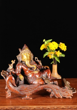 Brass Reclining Ganesh Sculpture 7