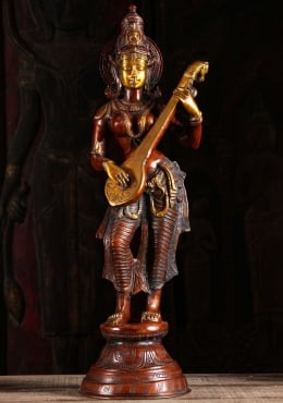 Brass Saraswati Standing Playing Veena 29