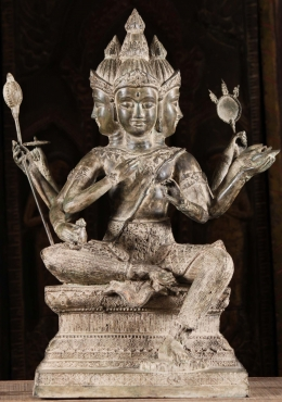 Brass Seated Brahma Statue with 8 Arms 24