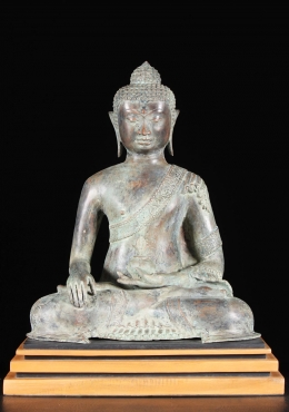 Brass Seated Buddha Statue on Wood Stand 23