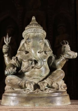 Brass Ganesha Statue With Piercing Eyes 18
