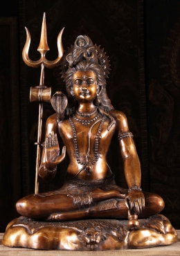 Brass Seated Shiva on Tiger Skin Holding Trident 30