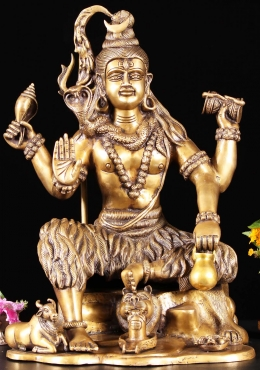 Brass Abhaya Shiva Holding Conch & Drum 18