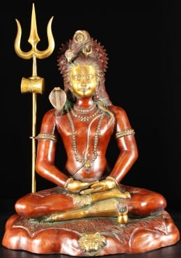 Brass Meditating Shiva on Tiger Skin Statue 30