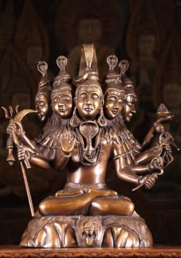 Brass Shiva Statue with 5 Heads & 10 Arms 16