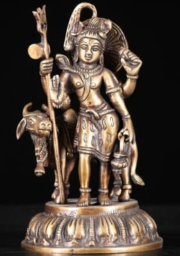 Brass Shiva Statue With the White Bull, Nandi 8