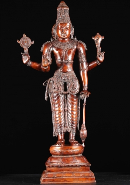 Brass Vishnu Statue with Club, Conch & Discus 37