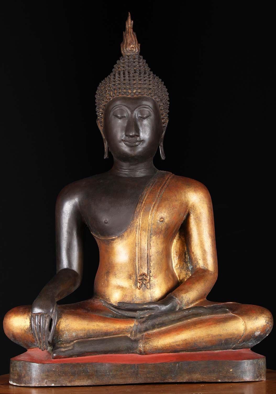 """SOLD Brass Earth Touching Sukhothai Buddha 29"""" (#58t27z"""