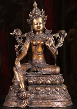 Brass Green Tara Statue on Lotus Base 17