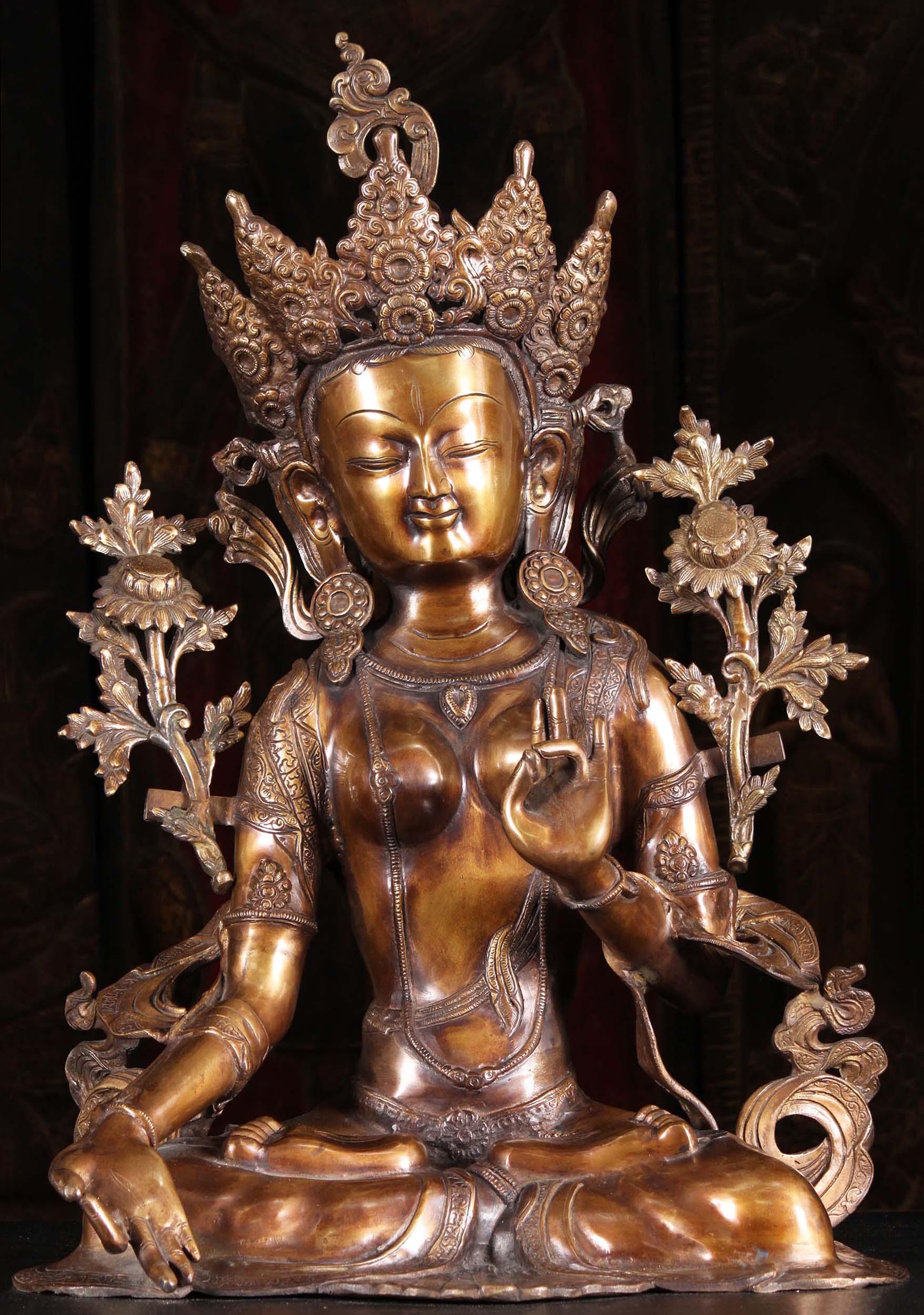 Brass Seated Padmasana White Tara Statue 28 Quot 89bs67z