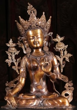 Brass Seated Padmasana White Tara Statue 28