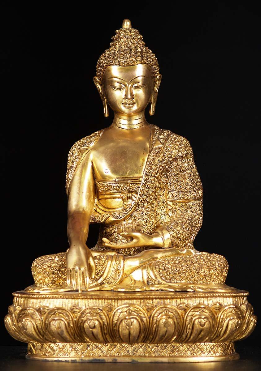 Sold Brass Brocade Robe Buddha Statue 17 Quot 72bs32z
