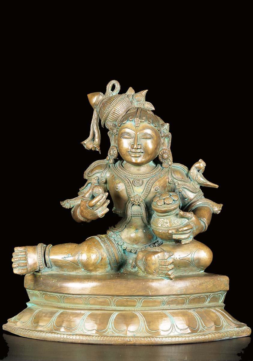 Bronze Bala Krishna Statue With Jar Of Butter 14 Quot 74b1