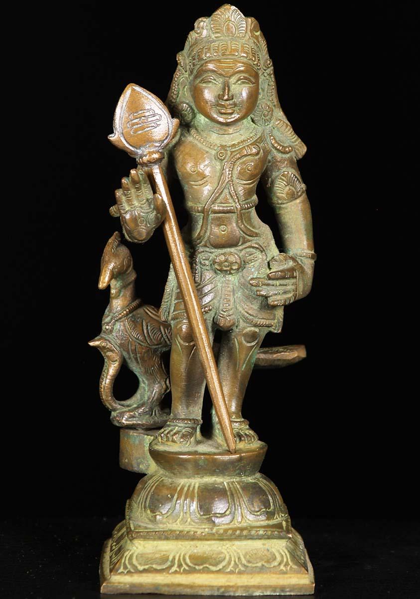 sold bronze murugan statue with peacock amp vel 6quot 74b38z