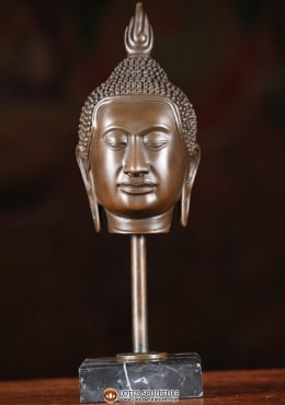 Bronze Buddha Head On Stand 8