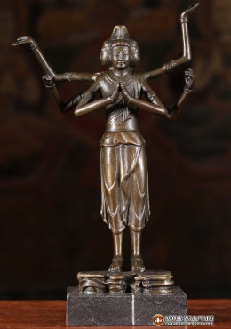 Bronze Dattatreya Statue with 6 Arms on Stand 9