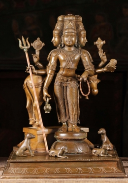 Bronze Dattatreya With Dogs Sculpture 16