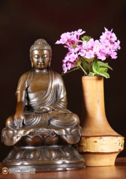 Bronze Earth Touching Buddha Japanese Statue 4.5
