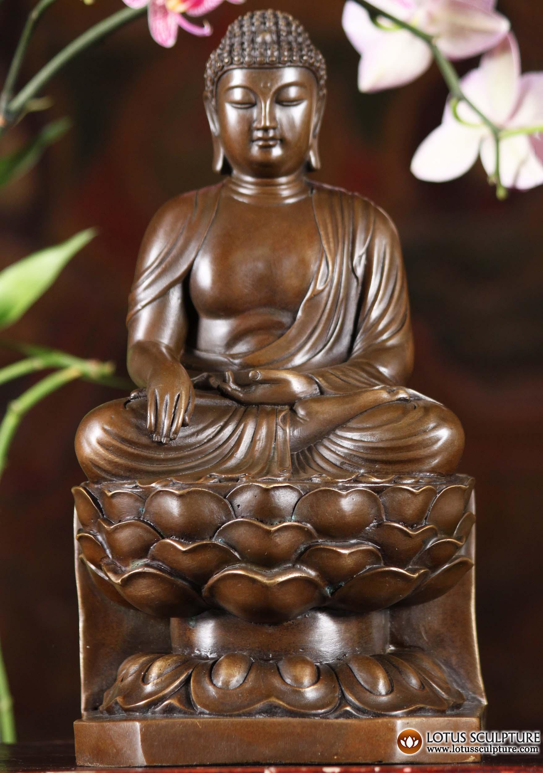 Bronze Amida Buddha Statue On Lotus Petals 10 Quot 101cb15