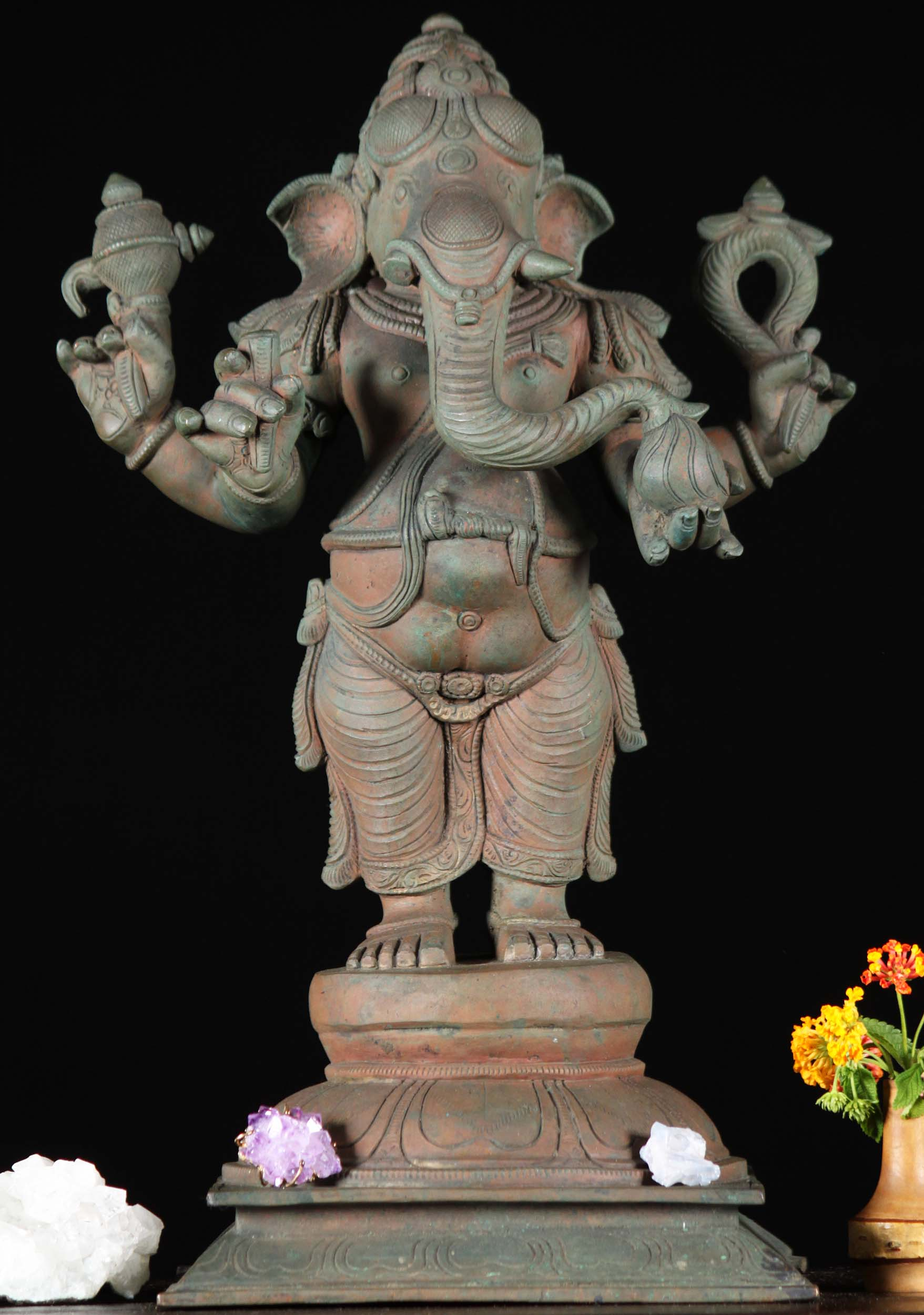 Bronze Antique Standing Ganesha Statue
