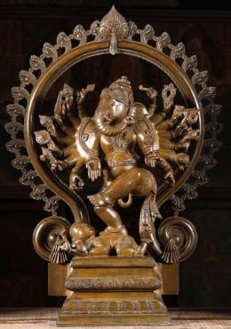 Bronze Nataraja Ganesh Dancing With 16 Arms 26